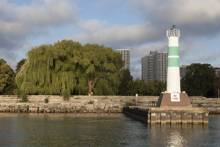 Lighthouse by Montrose Harbour entrance - Chicago, Illinois Stock Photo - 17305298