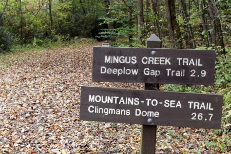 tn: Sign in Smoky Mountains National Park. Seen during fall. Stock Photo