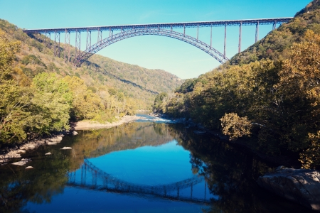 gorge: New River Gorge Bridge in West Virginia Stock Photo