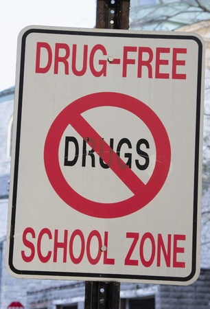 Drug Free School Zone sign in front of the school.