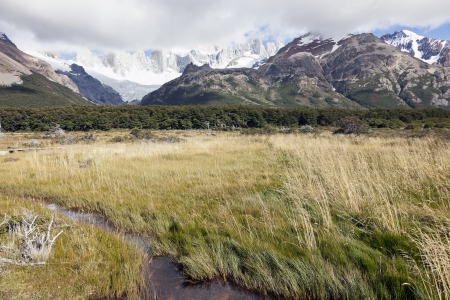 fitz roy: Fitz Roy Range in Argentina covered in clouds Stock Photo