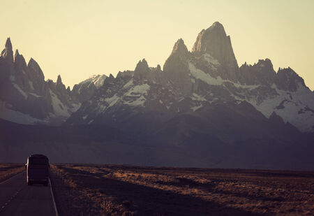 fitz roy: Bus on the road towards Fitz Roy Range in Argentina  Stock Photo