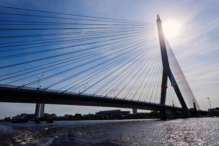 phraya: Rama VIII Bridge on Chao Phraya River in Bangkok