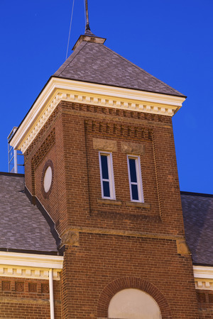 il: Historic architecture of Lincoln, Illinois at sunset Editorial