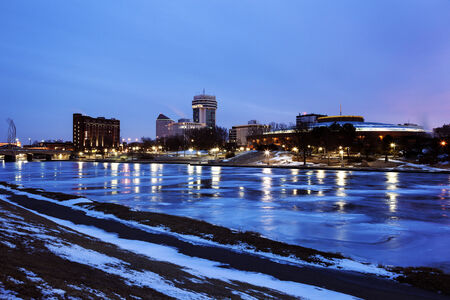Wichita, Kansas - downtown seen accross the frozen river photo