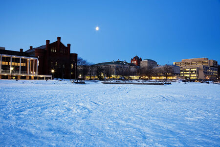 university of wisconsin: Historic Buildings - University of Wisconsin - seen from frozen Lake Mendota.