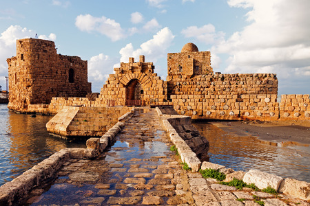 crusaders: Sidon Sea Castle - Sidon, Lebanon Stock Photo
