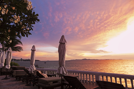 View on the Gulf of Thailand at sunset - Pattaya, Thailand.