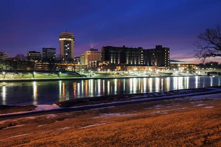 KANSAS: Wichita, Kansas - downtown seen accross the frozen river