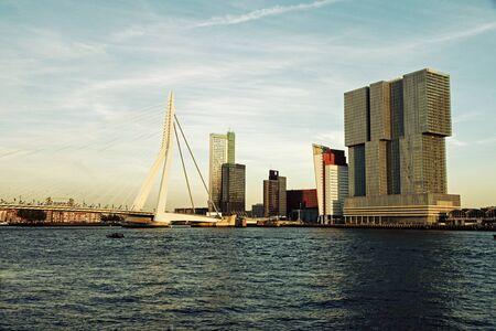 the netherlands: Rotterdam skyline with Erasmus Bridge. Rotterdam, South Holland, Netherlands. Stock Photo