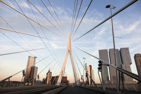rotterdam: Driving on Erasmus Bridge. Rotterdam, South Holland, Netherlands.