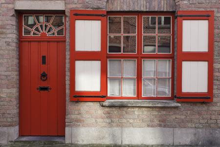 flemish region: Colorful streets of Bruges. Bruges, Flemish Region, Belgium Stock Photo