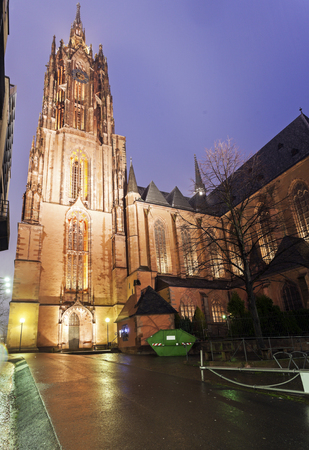 frankfurt: Rainy evening by Frankfurt Cathedral. Frankfurt, Hesse, Germany