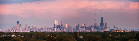 illinois: Sunset panorama of Chicago  with colorful clouds. Chicago, Illinois, USA.