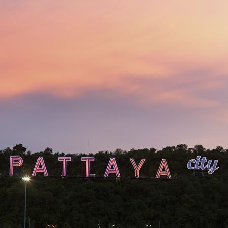 pattaya thailand: Pattaya City sign at sunset. Pattaya, Thailand