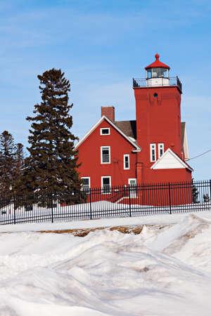 harbors: Two Harbors Lighthouse winter time. Two Harbors, Minnesota, USA Stock Photo