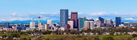 Panorama of Calgary and Rocky Mountains. Calgary, Alberta, USA Stock Photo