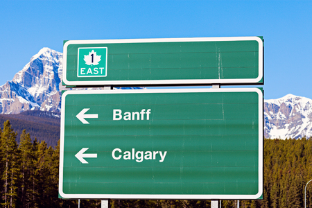 alberta: Sign in Banff National Park. Alberta, Canada. Stock Photo