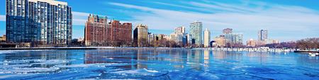 michigan snow: Frozen marina in Chicago. Chicago, Illinois, USA