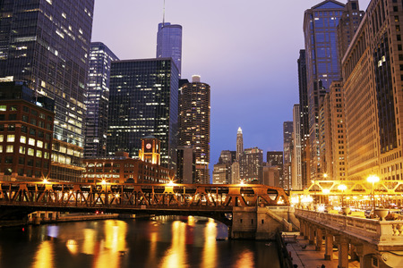 illinois river: Architecture of Chicago along Chicago River. Chicago, Illinois, USA Stock Photo