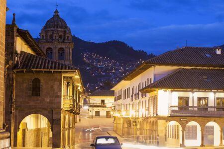 Streets of Cuzco before sunset. Cuzco, Peru.