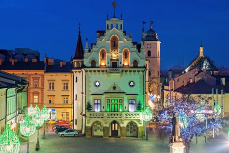 trees  sky: Rynek Glowny in Rzeszow. Rzeszow, Podkarpackie, Poland