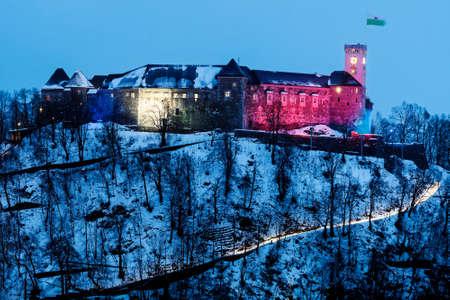 Ljubljana Castle seen during winter evening. Ljubljana, Slovenia