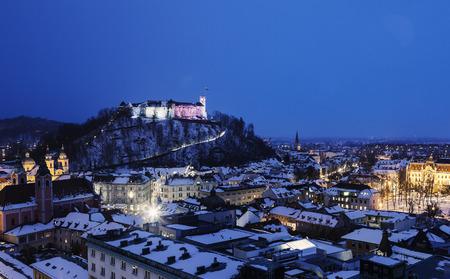 st jamess: Evening panorama of Ljubljana. Ljubljana, Slovenia Editorial