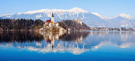 bled: Church of the Assumption on Lake Bled. Bled, Slovenia Editorial
