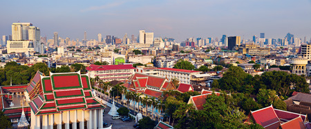 Bangkok skyline with buddist temples in the foreground