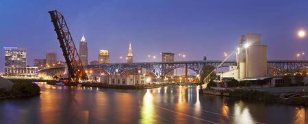 Full moon rising in Cleveland, Ohio, USA Stock Photo