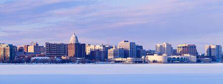 state of wisconsin: Winter panorama of Madison. Madison, Wisconsin, USA