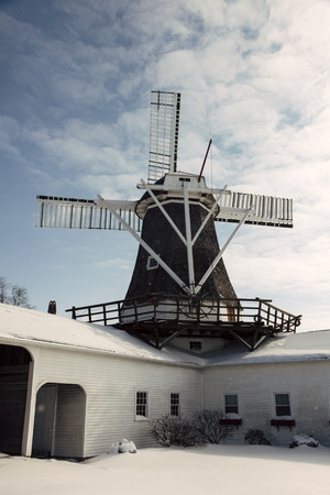 dutch culture: Windmill in Golden, Illinois, United States. Seen winter time. Stock Photo