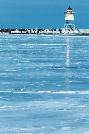 michigan snow: Grand Marais Lighthouse. Grand Marais, Minnesota, USA