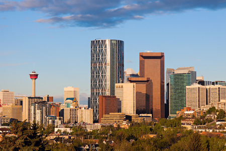 calgary: Panorama of Calgary in the mornign. Calgary, Alberta, Canada Stock Photo