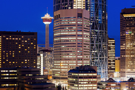 Evening panorama of Calgary. Calgary, Alberta, Canada