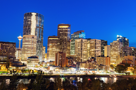 calgary: Evening panorama of Calgary. Calgary, Alberta, Canada