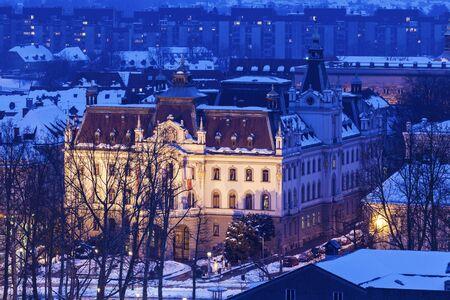 Panorama of Ljubljana in the center of the city. Ljubljana, Slovenia