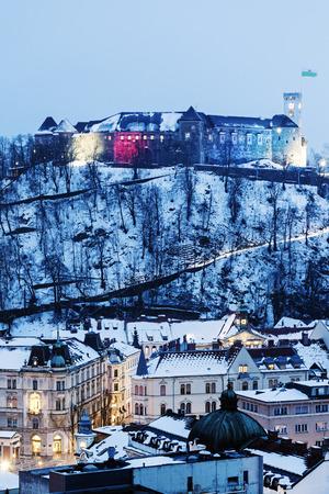 Panorama of Ljubljana with the castle. Ljubljana, Slovenia