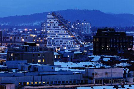 ljubljana: Ljubljana architecture at the sunset. Ljubljana, Slovenia