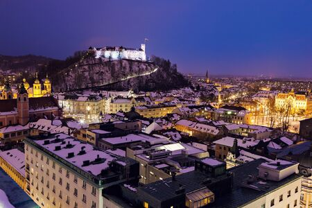 ljubljana: Evening panorama of Ljubljana. Ljubljana, Slovenia Editorial