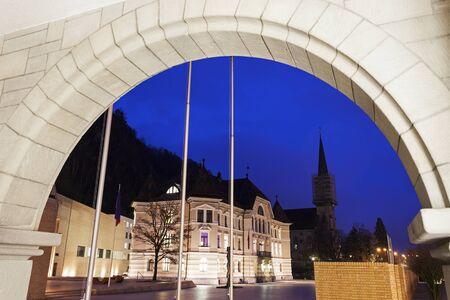 parliament building: Parliament building and Vaduz Cathedral - Vaduz, Liechtenstein Editorial