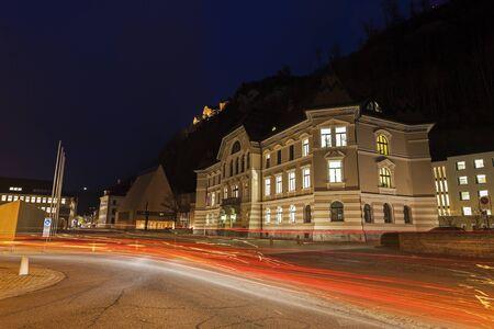 europeans: Parliament building in Vaduz during the evening traffic. Vaduz, Liechtenstein.