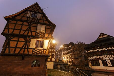 strasbourg: Petite-France architecture at dawn. Strasbourg, Alsace, France