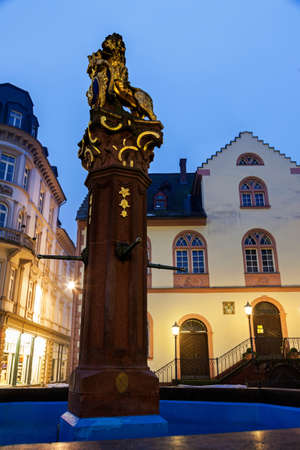 rathaus: Fountain and old Rathaus. Wiesbaden, Hesse, Germany