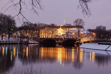 winter sunrise: Bellevue Palace seen winter morning. Berlin, Germany