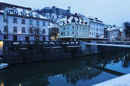 Architecture along Ljubljanica River in Ljubljana, Slovenia