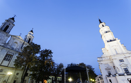 kaunas: Church of St. Francis Xavier and City Hall. Kaunas, Lithuania. Stock Photo