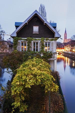 strasbourg: Petite-France architecture at dusk. Strasbourg, Alsace, France