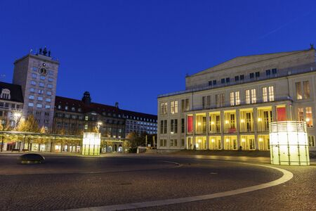 augustus: Leipzig Opera and Augustus Square. Leipzig, Saxony, Germany Editorial